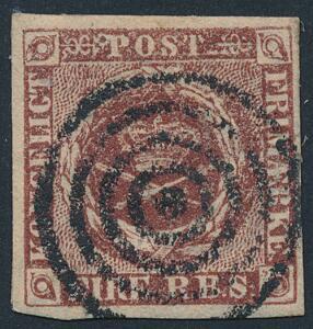1852. 4 RBS Thiele I, rødbrun. Bredrandet pragtmærke med velplaceret stumt stempel.