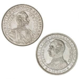Erindringsmønter, 2 kr 1903, 1906, H 11-12, begge let ridset og med små kanthak - 2 flotte mønter