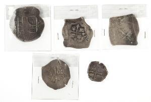Mexico, Philip III - Philip V, lille lot cob-mønter, 2, 4, 8 Reales, i alt 5 stk.