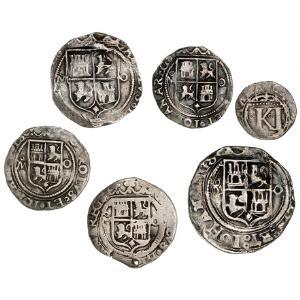 Mexico, lille samling af 12, 1, 2, og 4 Reales mønter, i alt 6 stk. i varierende kvalitet
