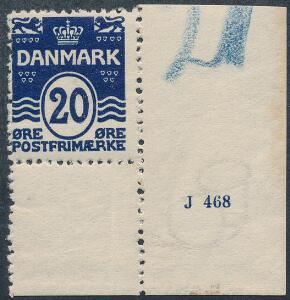 1912. Bølgel. 20 øre sortblå. Postfriskt enkeltmærke med lille oplagsnummer J 468. Sjældent