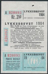1964. Lykkebrevet. Komplet sæt. AFA 1400