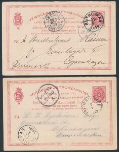 1899. Dobbelt brevkort, 3 cents, rød. 2 spørgekort sendt fra St. THOMAS 19.6.1895 og FREDERIKSTED 30.1.1899 til København