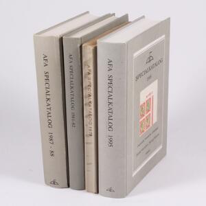 Litteratur. 4 stk. AFA Specialkataloger 1971, 198182, 198788 og 1995.