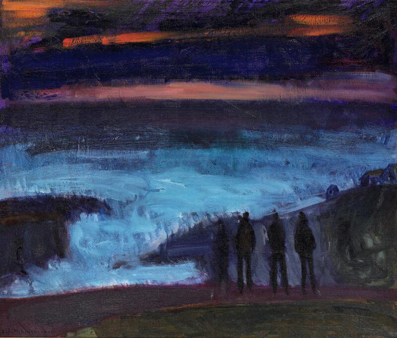 Samuel Joensen-Mikines: Figures by the sea, the Faroe Islands. Signed S...