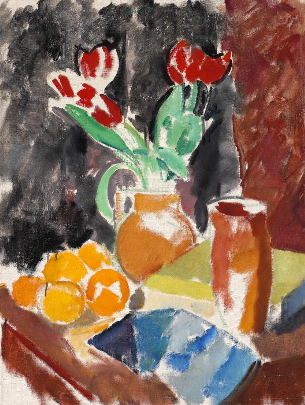 Karl Isakson: Nature morte with tulips and oranges. Unsigned. On the...