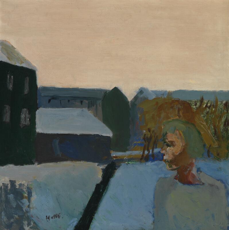 Erik Hoppe: View from Christianshavn, Copenhagen, 1930s. Signed Hoppe. Oil...