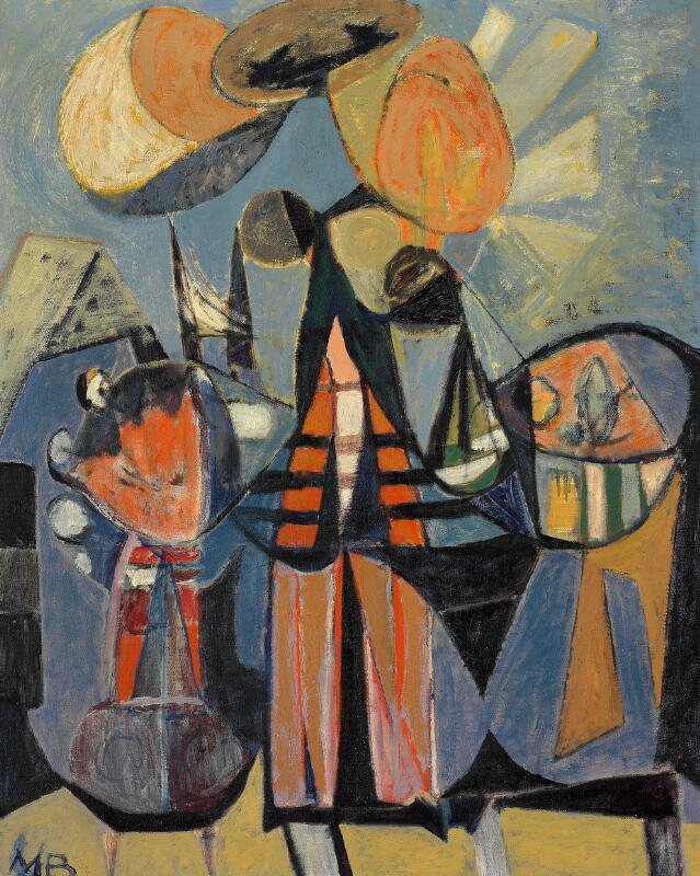 Mogens Balle: Untitled, 1950s. Signed MB. Oil on canvas. 81×65 cm.