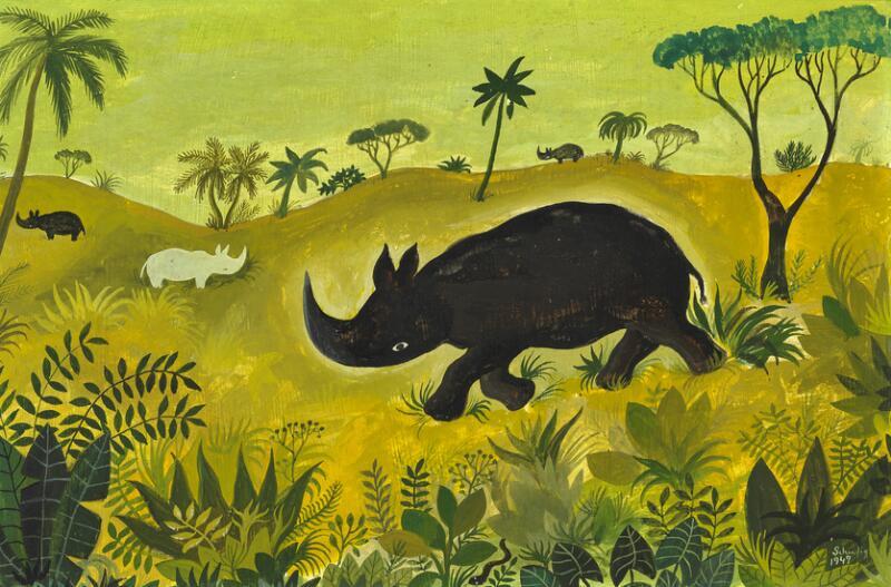 Hans Scherfig: Rhinoceros on the Savannah. Signed Scherfig 1947. Tempera on...