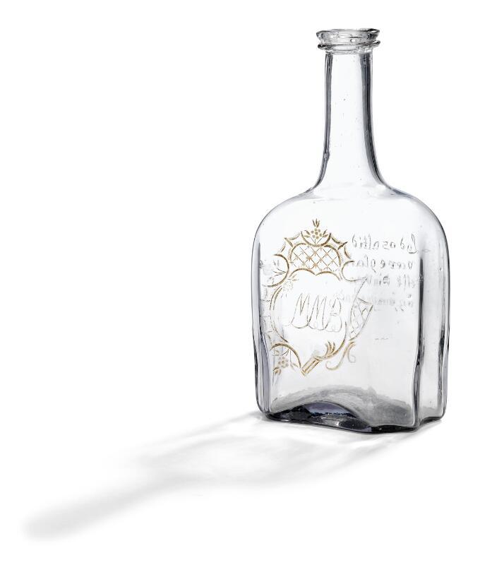 A Nøstetangen light gray tinted glass decanter. Norway, 1760–1770. H. 19.5...
