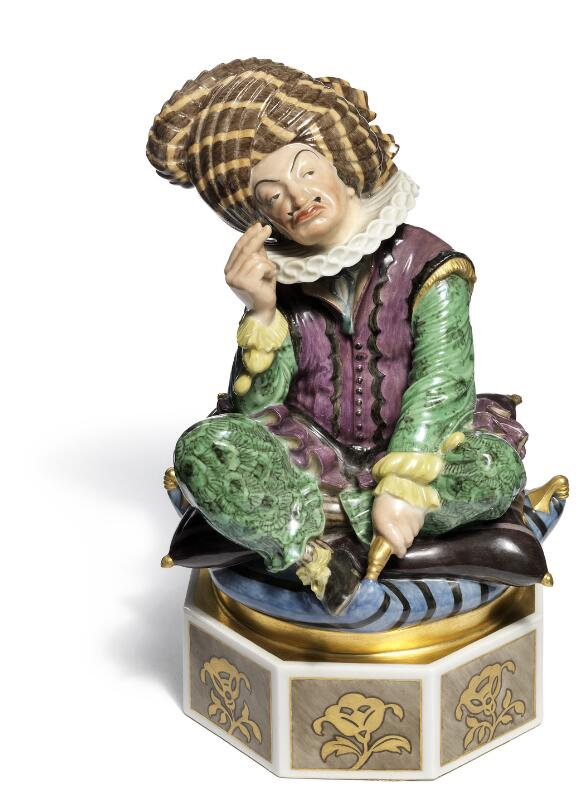 Axel Locher: A seated Sultan overglaze porcelain figure. Juliane Marie's...