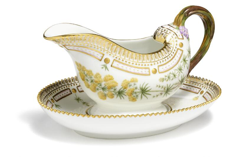 """Flora Danica"" porcelain sauceboat, decorated in colours and gold with..."