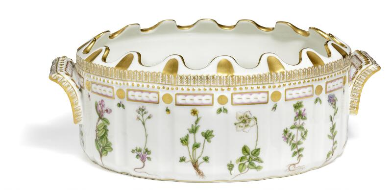 """Flora Danica"" porcelain monteith, glass cooler, decorated in colours and..."
