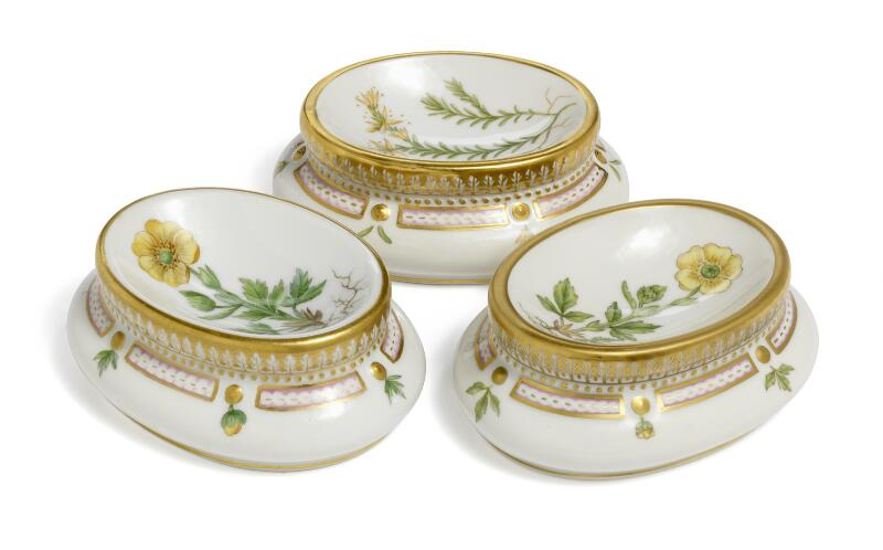 """Flora Danica"" three porcelain salt cellars, decorated in colours and gold..."