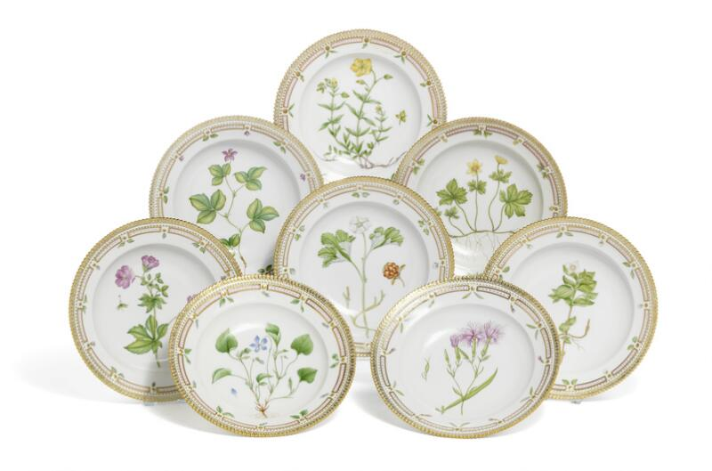 """Flora Danica"" eight deep porcelain plates, decorated in colours and gold..."
