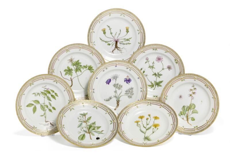 """Flora Danica"" eight porcelain dinner plates decorated in colours and gold..."