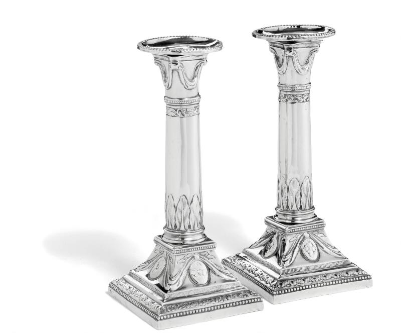A small pair of Danish Louis XVI silver candlesticks. Maker Andreas...