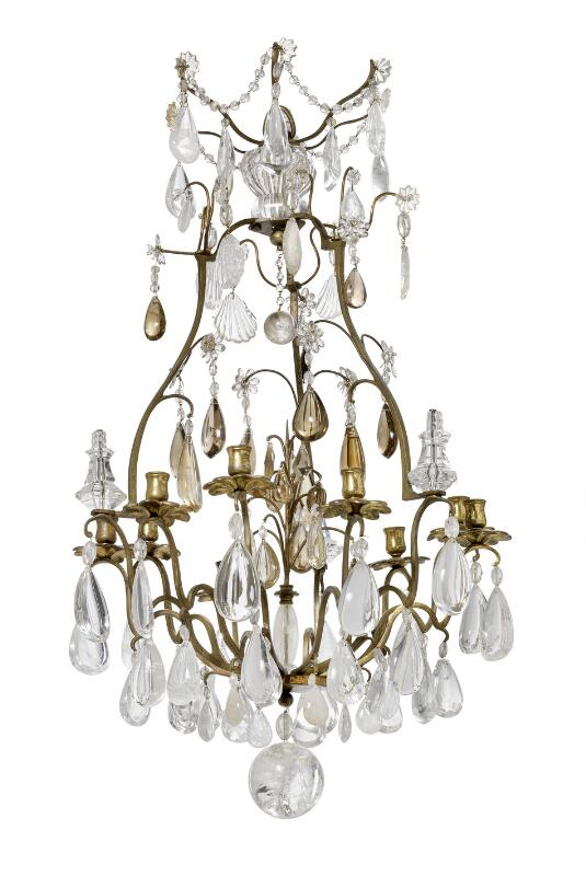 A French rock crystal and yellow quartz nine light chandelier. Mid-19th...