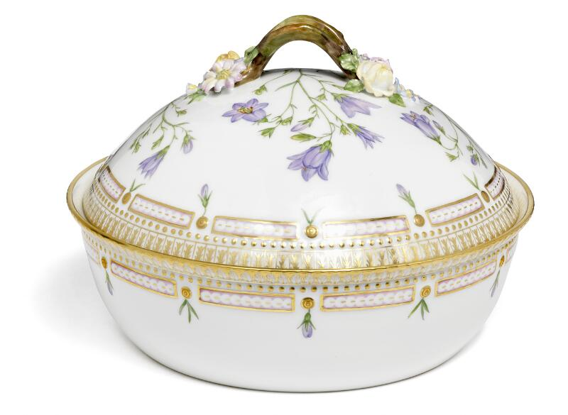"""Flora Danica"" a circular porcelain tureen and cover. 3568. Royal..."