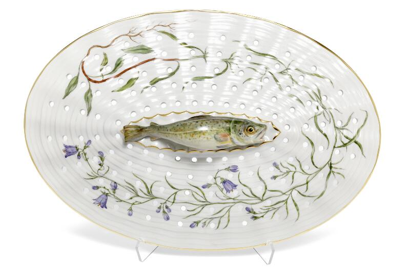 """Flora Danica"" porcelain fish strainer decorated in colours and gold..."