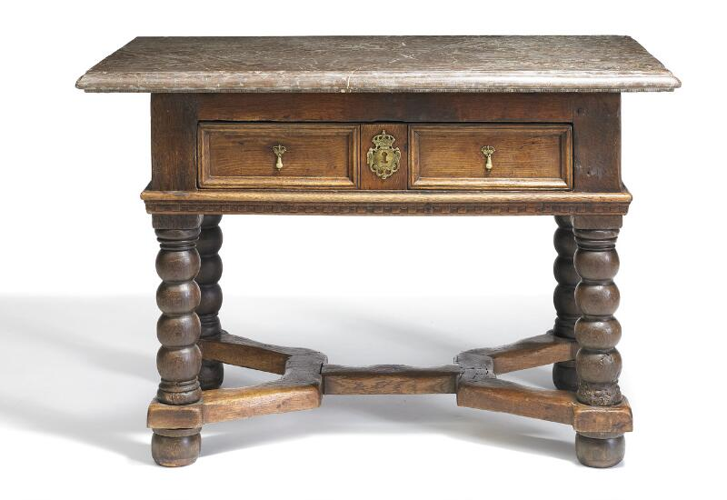 A Swedish Baroque oak and Öland stone top table, front with drawer above...