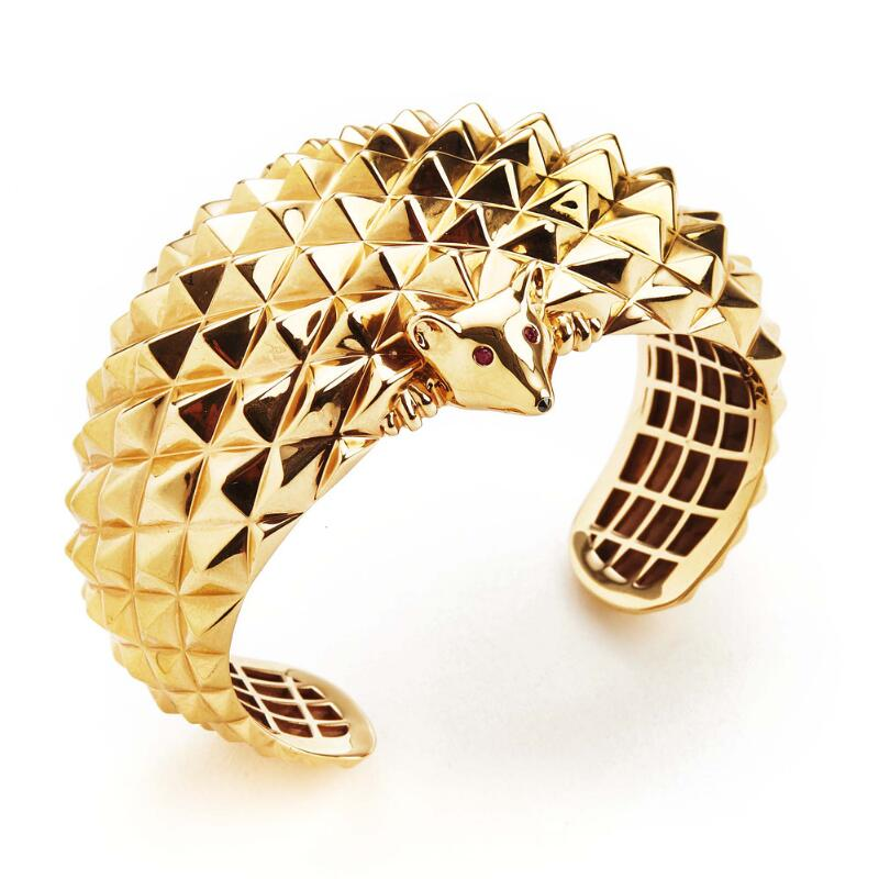 "Boucheron: A bangle of 18k pink gold ""Hans, the Hedgehog Bracelet"" set with..."