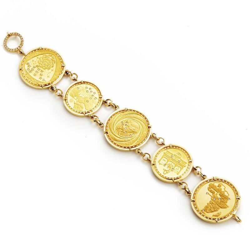 Visconti Orlandini: A diamond bracelet with medals of 22–24k gold set with...
