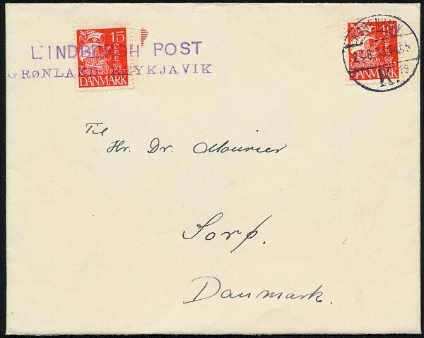 """1933. CHARLES LINDBERGH SURVEY FLIGHT. Cover with content dated """"Julianehaab 10/8 1933"""", sent via Reykjavik and København 24.8.33 to Sorø."""