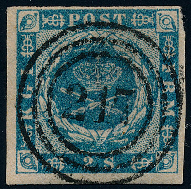 1854. 2 Sk. blue. SUPERB COPY with numeral 217 (AARHUS RAILWAY). Rare on...