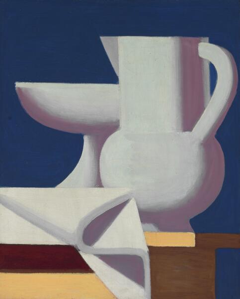 """Vilhelm Lundstrøm: """"Opstilling. Opsats, hvid kande og en serviet. Blå baggrund"""", 1932-33. Signed on the reverse VL. Oil on canvas. 81 x 66 cm."""