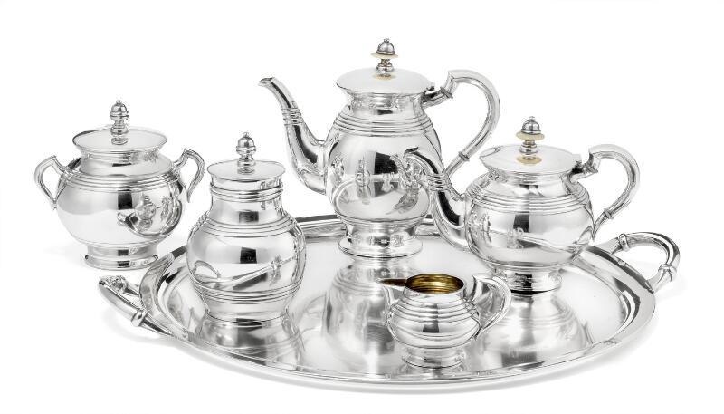 Ivan Petrovich Chlebnikov: A Russian silver tea service, comprising teapot...