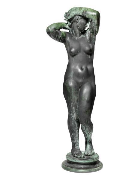 """Kai Nielsen: """"Aarhuspigen"""". Signed Kai Nielsen 1921 No. III. Green patinated bronze. H. 175 cm."""
