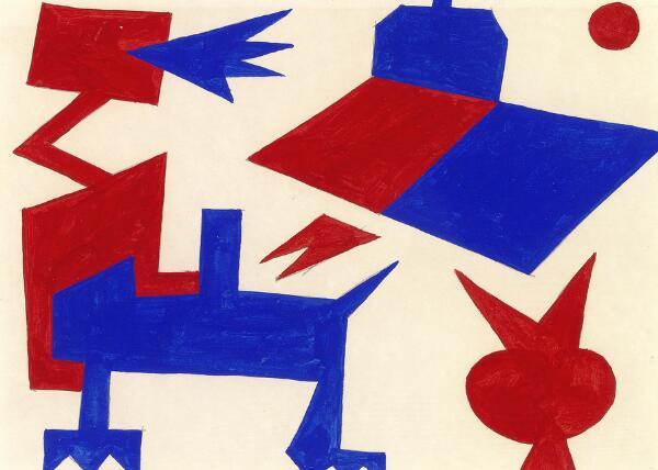 Albert Mertz: Untitled. Signed on the reverse Mertz, Maj 83. Gouache on paper. Visible size 20 x 28.3 cm.