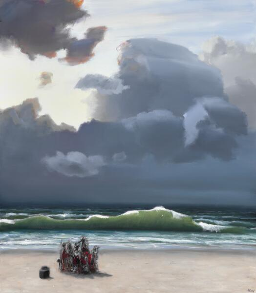 "Poul Anker Bech: ""Den grønne bølge II"", 2008. Signed Bech; signed, titled and dated on the reverse. Oil on canvas. 150 x 132 cm."