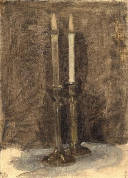 Vilhelm Hammershøi: Two candles on a table. Unsigned. C. 1901. Oil on canvas. 30 x 22 cm.