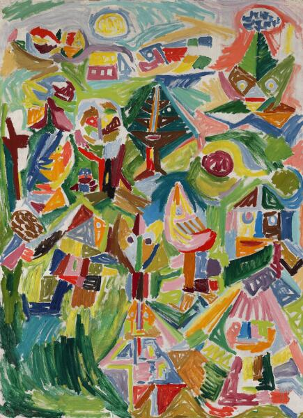 "Asger Jorn: ""Landscape in Finkidong"". Signed Asger J. 45. Oil on canvas. 160 x 116 cm."