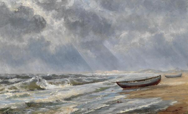 Holger Drachmann: Stormvejr ved Skagen strand. Sign. Holger Drachmann Skagen 1903. Olie på lærred. 42 x 66.