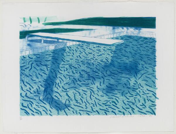 "David Hockney: ""Lithograph of Water Made of Thick and Thin Lines and Two Light Blue Washes"". Signed David Hockney 1978-80, 34/40."