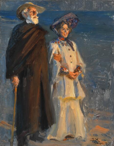 P. S. Krøyer: Drachmann and his wife. Full length. Signed and dated S. K. Skagen 1905. Oil on panel. 41 x 32 cm.