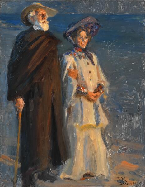 """P. S. Krøyer: """"Drachmann og hustru. Hele figurer stående."""" Sign. S. K. Skagen 1905. Olie på træ. 41 x 32."""