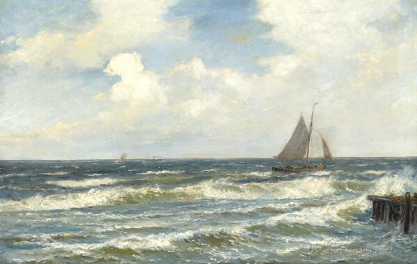 Holger Drachmann: Seascape with sailing boats in windy weather. Signed and dated Holger Drachmann 91. Oil on canvas. 65 x 101 cm.