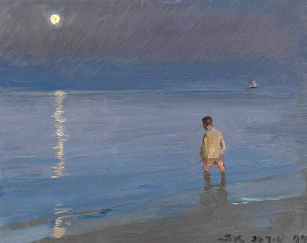 P. S. Krøyer: Summer evening with moonlight over the sea. In the foreground a paddling boy. P. S. Krøyer July 26, 04. Oil on panel. 33 x 41 cm.