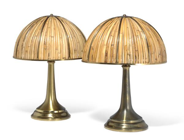 """Gabriella Crespi: """"Fungo"""". A pair of very large table lamps of brass with bamboo shades. Produced and marked with signature by Gabriella Crespi. (2)"""