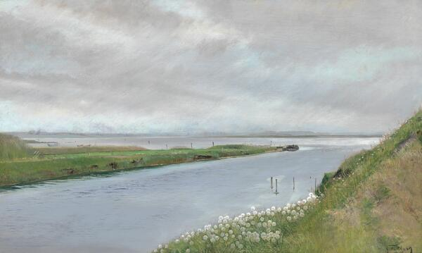 L. A. Ring: At the mouth of the stream. Signed and dated L. A. Ring 97. Oil on canvas. 56 x 93 cm.