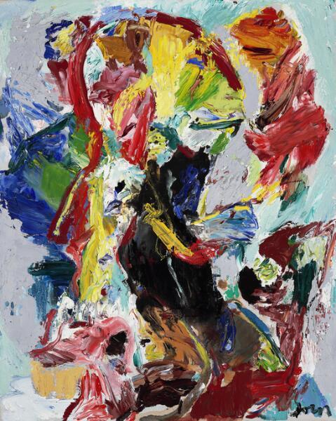 """Asger Jorn: """"Der Narrenkönig"""", 1965. Signed Jorn; signed and dated on the reverse. Oil on canvas. 81 x 605cm."""