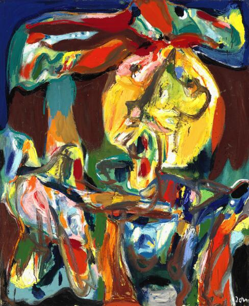 """Asger Jorn: """"Sermo rusticus"""", 1969. Signed Jorn; signed, titled and dated on the reverse. Oil on canvas. 100 x 81 cm."""