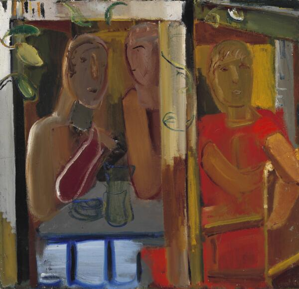 Ebba Carstensen: Three figures at a table. Signed Ebba Carstensen; signed, titled and dated on the reverse. Oil on canvas. 87 x 92 cm.
