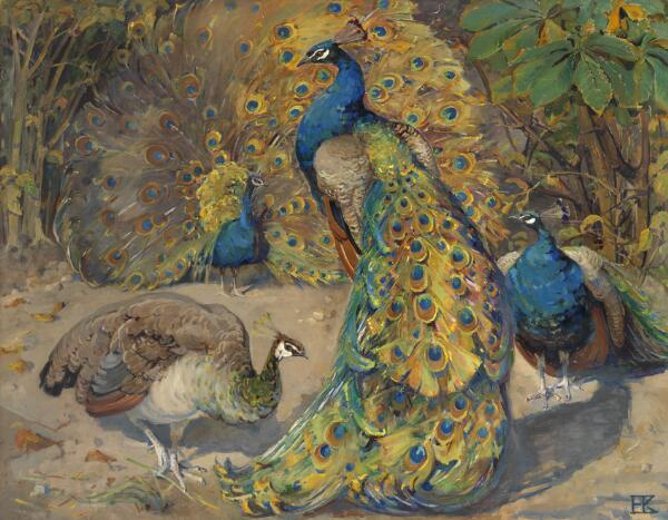 Helvig Kinch: Peacocks. Signed with monogram. Tempera on canvas. 102 x 128 cm.