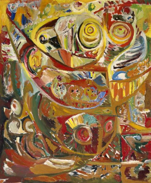 Ejler Bille: Untitled, Gudhjem 1946. Signed, titled and dated on the reverse. Oil on canvas. 131 x 109 cm.