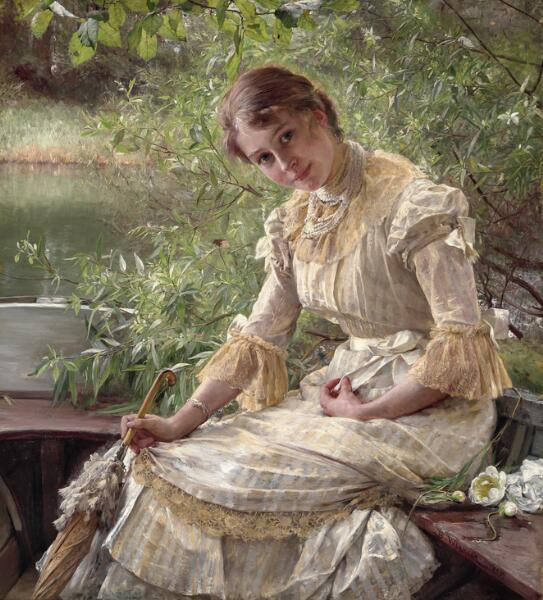 Bertha Wegmann: Portrait of Marie Triepcke. Signed and dated B. Wegmann 1885. Oil on canvas. 120 x 110 cm.